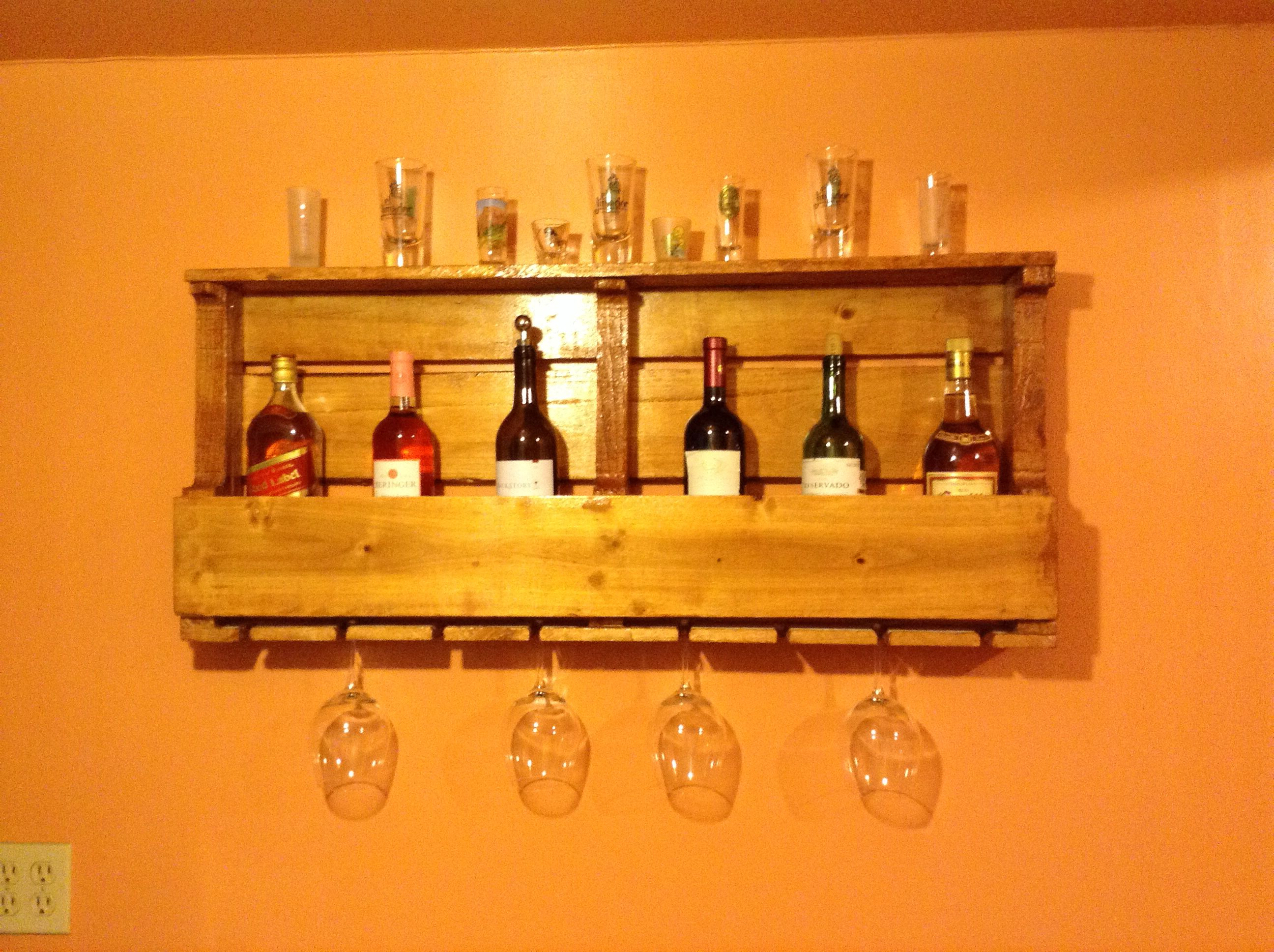 Wood pallet wine rack. This one was made by my dad.