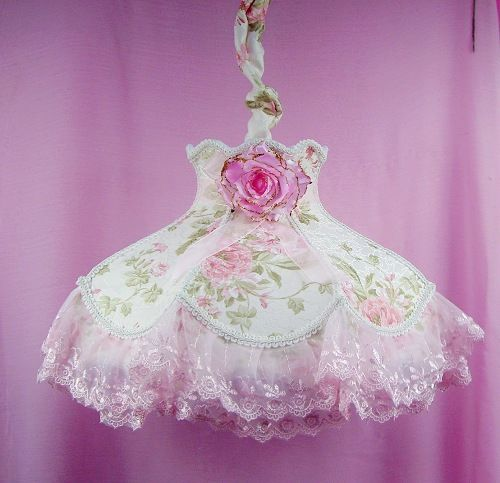 Romantic 100% cotton fabric lace pendant light pink rose 16