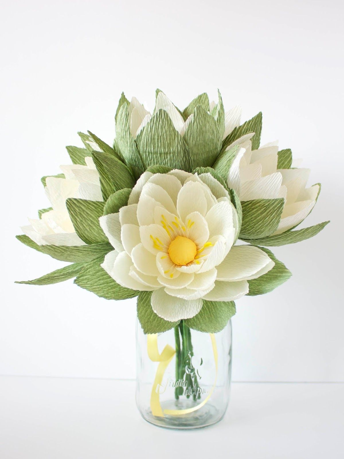 Crepe Paper Waterlily Arrangement Designed And Handcrafted By