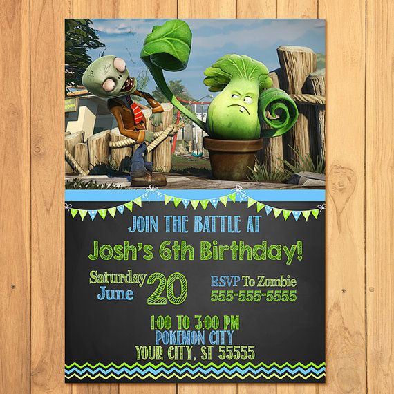 Plants Vs Zombies Invitation Plants Vs Zombies Birthday Plants Vs Zombies Printables PVZ
