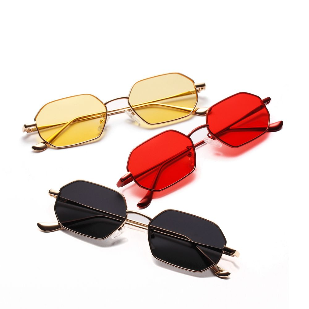 95237c7306  6.99 Peekaboo small rectangle sunglasses men 2019 metal frame polygon  women red lens sun glasses men gold unisex uv400  smallsunglasses  polygon   gift
