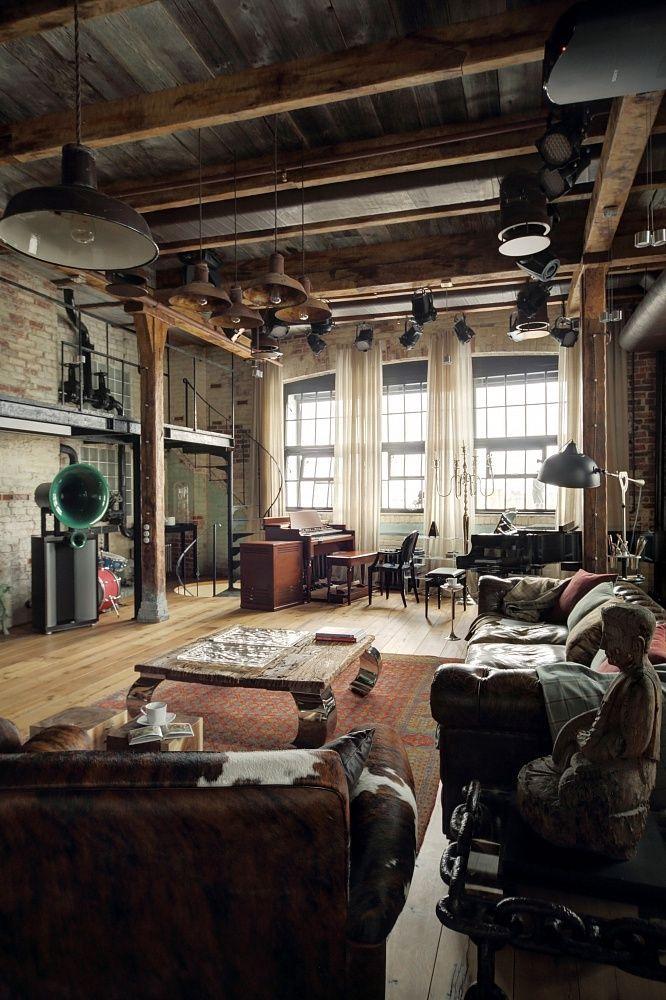 Pierre, Bois, Haut Plafond Et Grand Espace: Un Loft Dans Toute Sa Splendeur  Www.edifit.fr #loft #industriel #déco #brique #bois #pierre #métal #design  ...