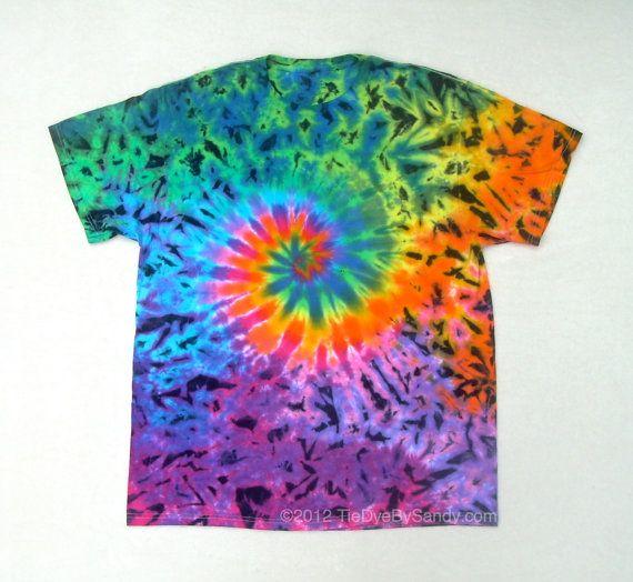Tie Dye Shirt XL Rainbow Galaxy Spiral with black by TieDyeBySandy, $18.99