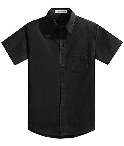 Spring&Gege Boys' Short Sleeve Solid Formal Cotton Twill Dress Shirts #shortsleevedressshirts
