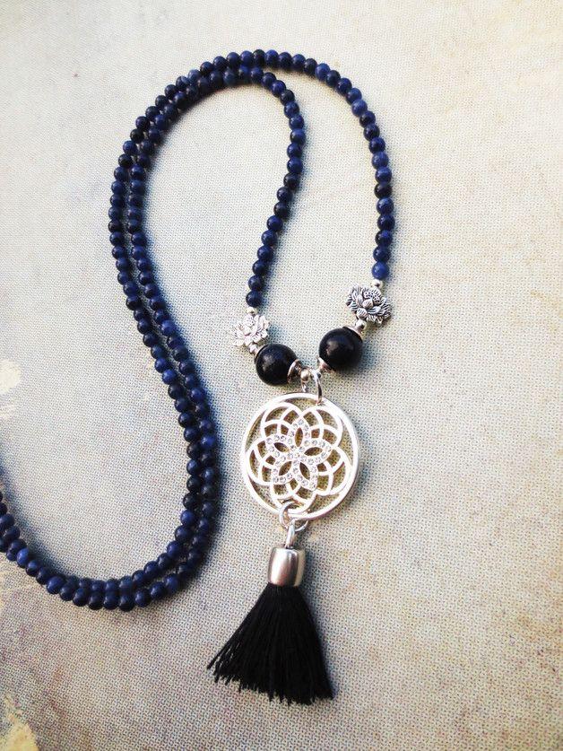 Photo of Charm- & Bettelketten – Hippie Bettelkette Lotusblüte silber blau Quaste – ein …