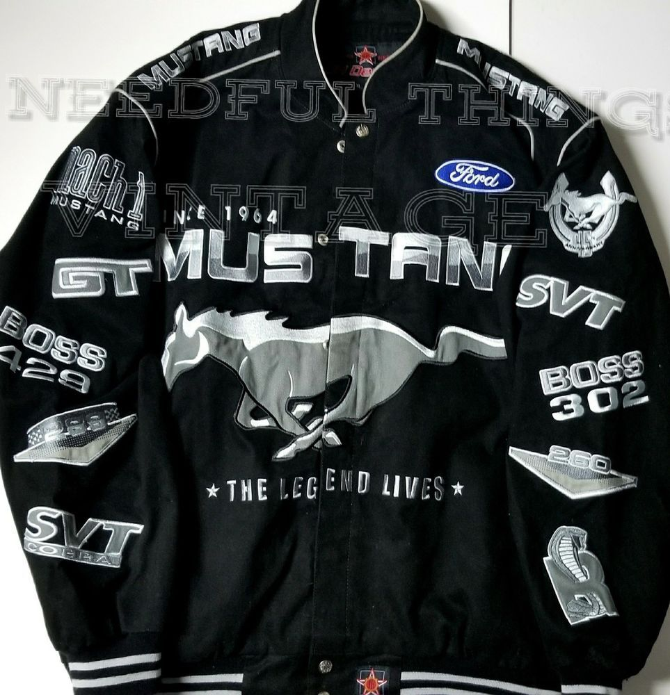 Ford Mustang Racing Jacket Officially Licensed Black Twill Premium Jh Design Xl Jhdesign Racing Fordmustang Racing Jacket Mustang Jacket Jackets