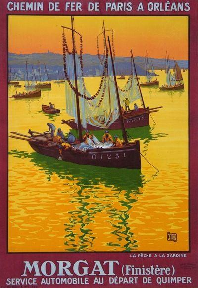 """MORGAT """"La Pêche à la Sardine """"  (1920) #vintaje #travel #poster #France"""