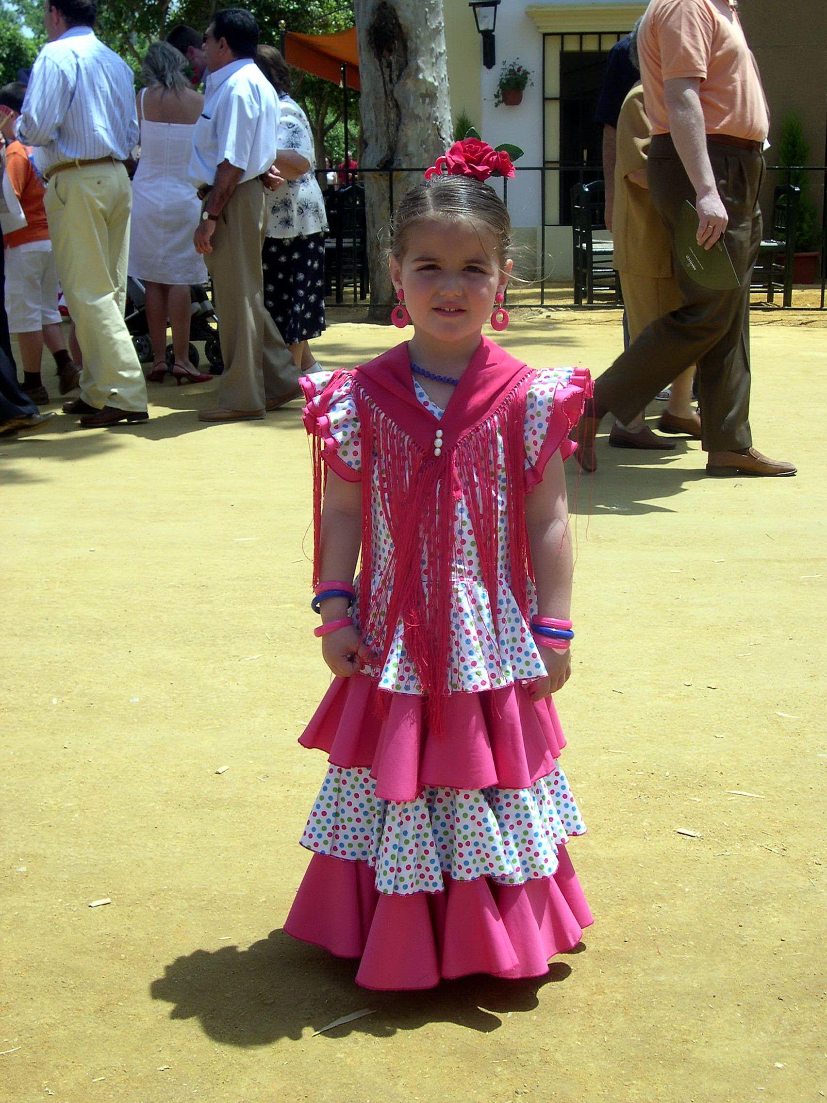 Little Spanish Girl Jerez, Spain  Flamenco Costume -4056
