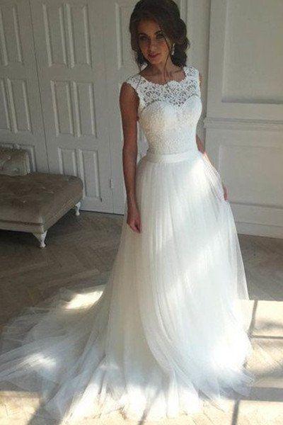 White Lace Tulle Off the Shoulder Back V Bridal Gowns Wedding ...