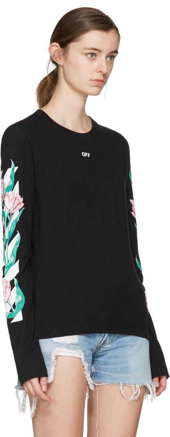 8f8e9166a5905 Off-White - SSENSE Exclusive Black Diagonal Tulips T-Shirt