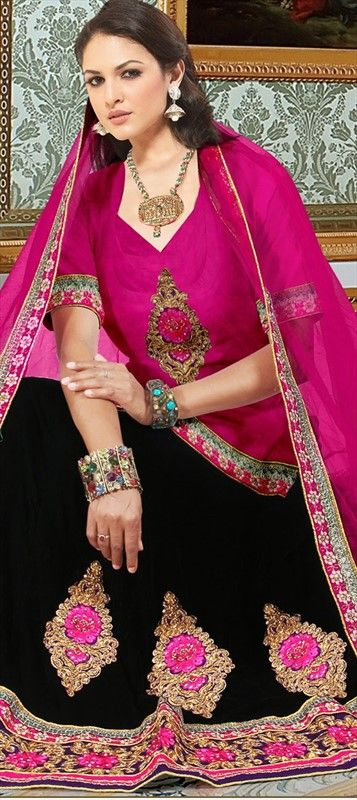 141934: Long #Blouse with #Lehenga. Shop now! #bridalwear #partywear #ethnic #sale #popcolor #embroidery