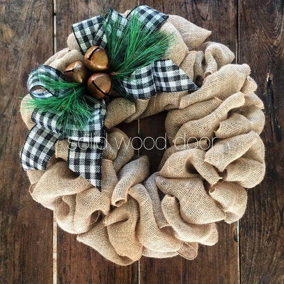 Photo of Items similar to Christmas Burlap Wreath, 22″ Xmas Wreath, Rustic burlap wreath, Rustic Christmas Wreath, Monogram Wreath, Bell Holiday Wreath,Rustic Holiday on Etsy