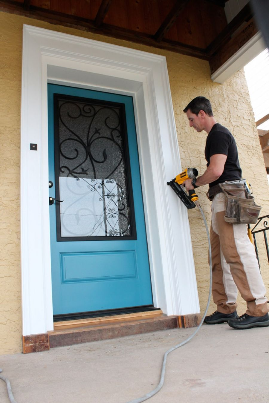 Contractor Mark Clement Attaching Fypon Decorative Trim Around His  Energy Efficient Therma Tru Fiberglass Entrydoor.