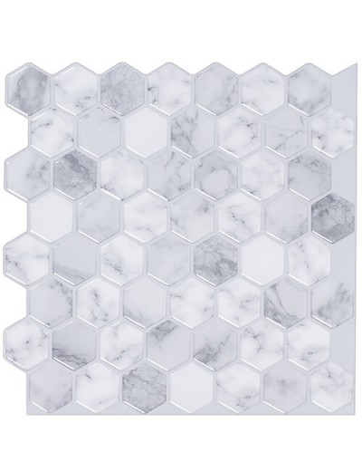 12 X 12 Peel And Stick Tile Backsplash Clever Mosaics Hexagon Stone Design Peel And Stick Vinyl Tile Ba Peel And Stick Tile Stick On Tiles Tile Backsplash