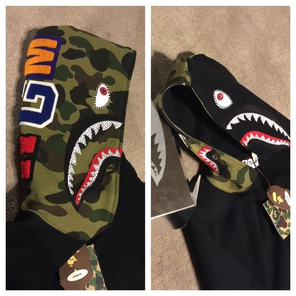 81ece457 Bape Hoodie Black shark hood Bape hoodie with Swarovski crystal accents.  Never worn, NWT, Rare find, limited quantities made, great price.