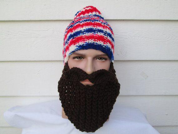 1da6b3dd Knitted hat with beard Beanie bearded beanie by Ritaknitsall | Knit ...