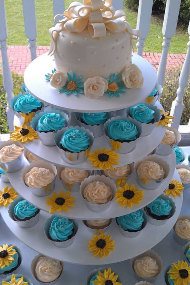 Our Beautiful Sunflower Cupcake Cake From Our Wedding 7 20 13 Mr