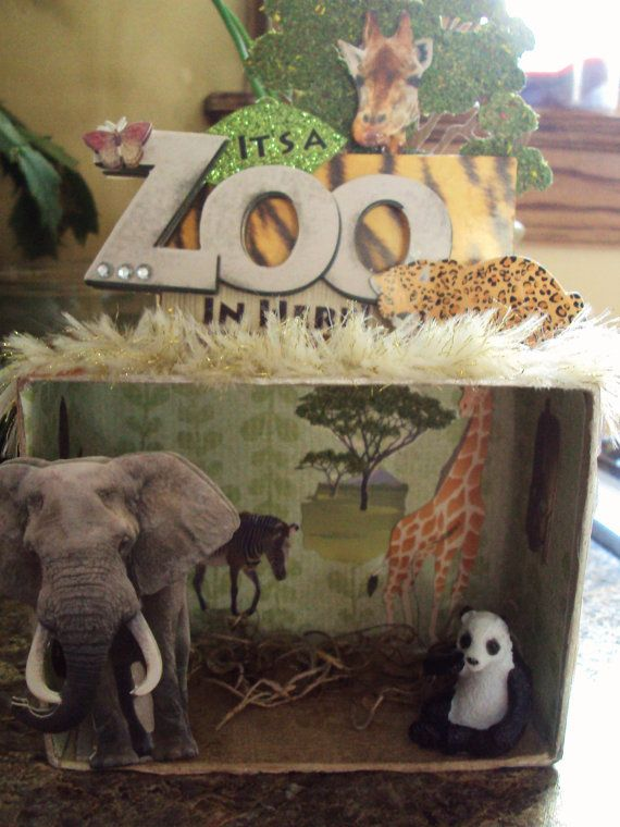 Shadow Box Diorama Zoo Elephant Giraffe