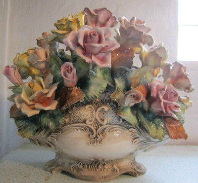 Capodimonte Flower Basket Centerpiece Porcelain Made In