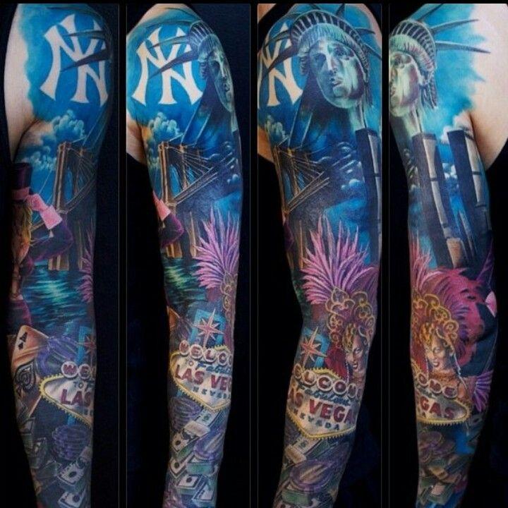 Ny Las Vegas Full Sleeve Sleeve Tattoos Blue Flower Tattoos New York Tattoo