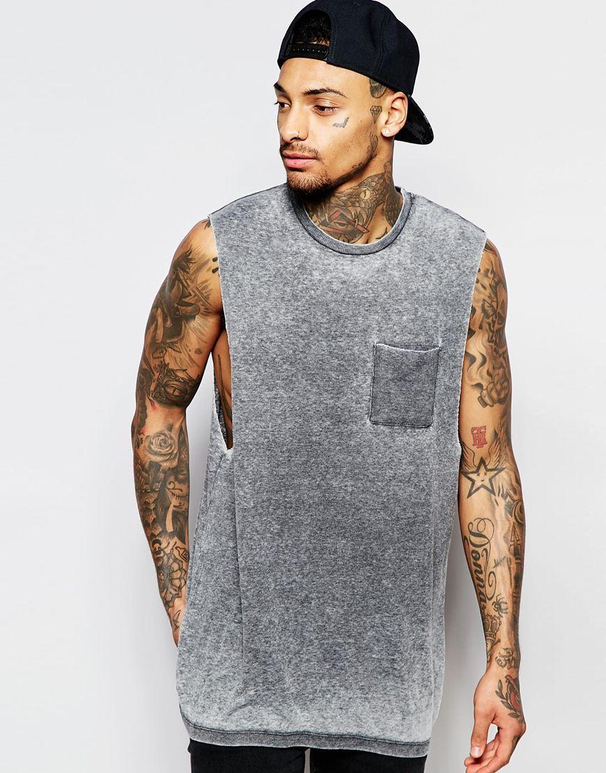Shop ASOS Burnout Rib Longline Sleeveless T-Shirt With Dropped Armhole at  ASOS.