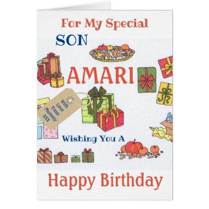 Named Son Birthday Card Customize 5 Letters Son Birthday Cards