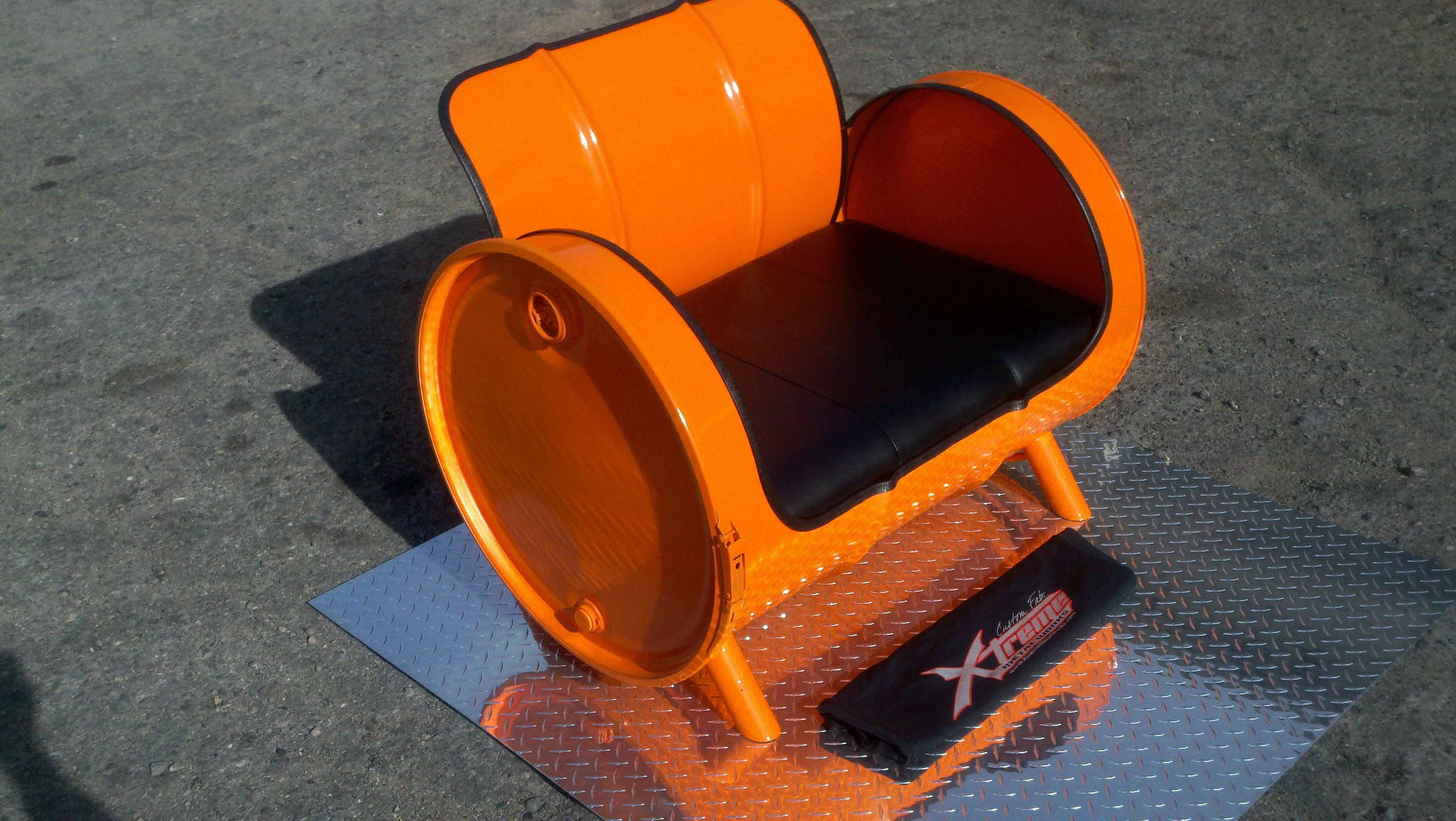 55 Gallon Drum Chair Powder Coated Leather Upholstery Built By Xtreme Metal  Works Drum Chair,
