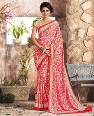 Cream & Red Color Crepe Casual Function Sarees : Karnika Collection  YF-40729