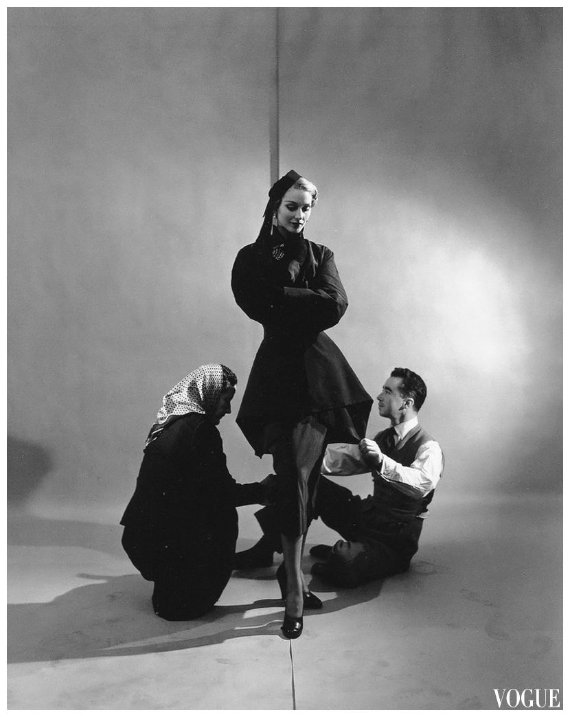 Charles James shapes a jacket of black faille, photo by Cecil Beaton, Vogue 1948