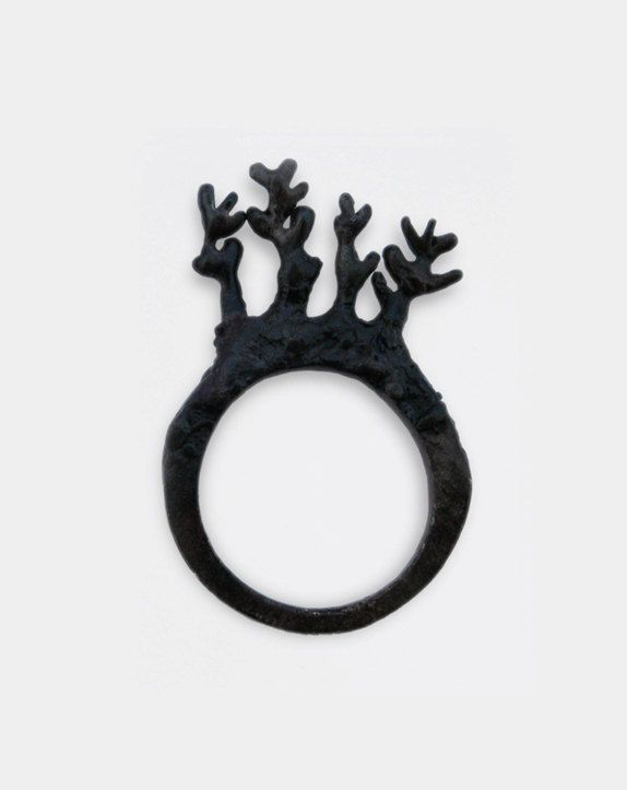 Oxidized silver tree branch ring natureinspired jewellery design