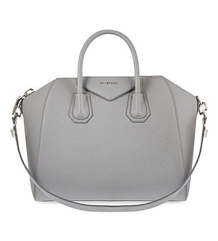 Givenchy Antigona Sugar Medium Soft Grained Leather Tote In Pearl Grey Modesens Grey Purses Givenchy Tote Bag Givenchy Bag