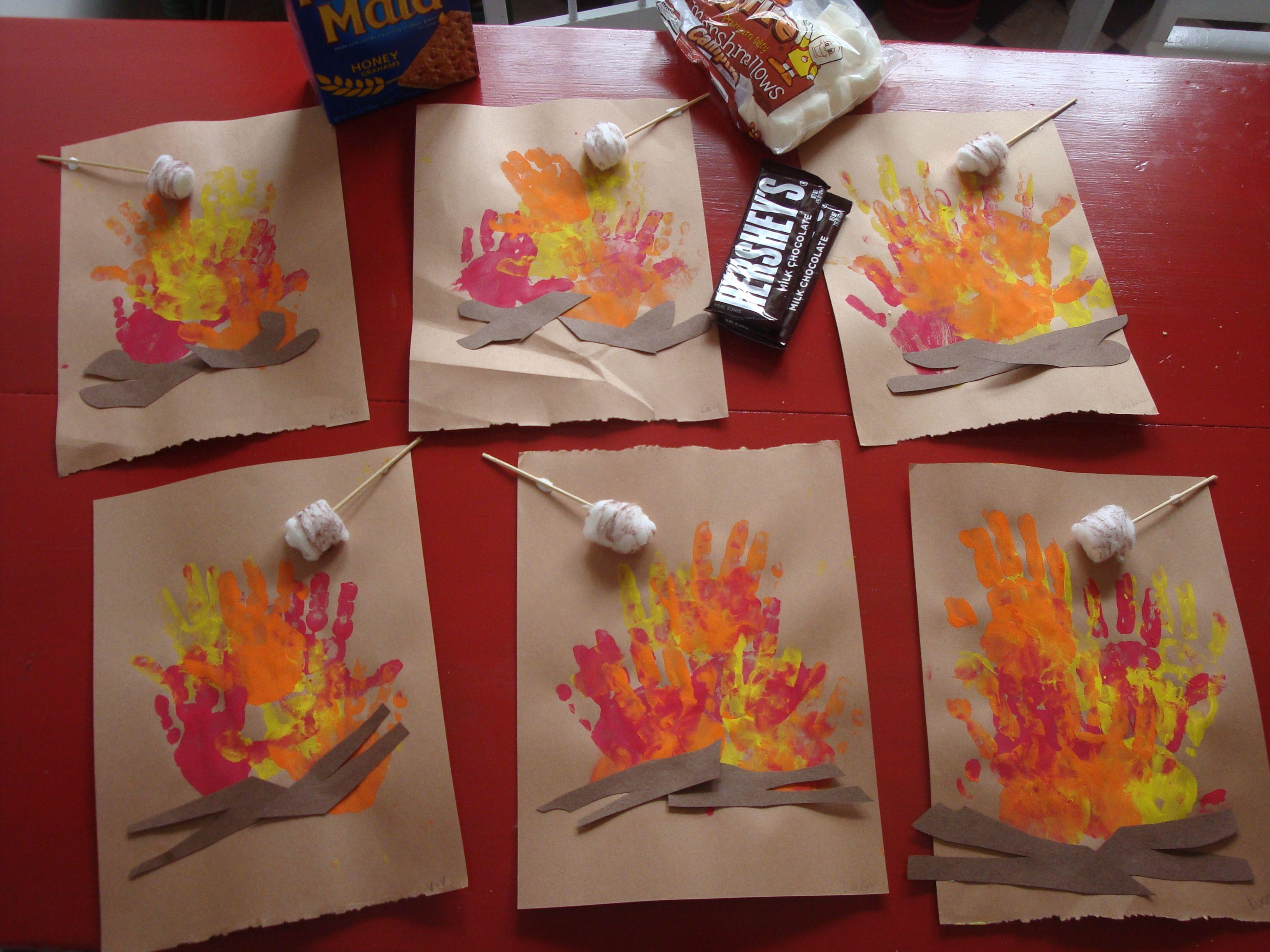 Free Handprint Campfire