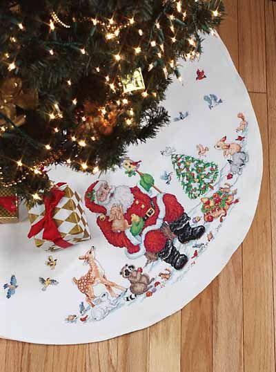 Santa And Animals Tree Skirt Cross Stitch Kit Cross Stitch Christmas Crafts Cross Stitch Kits