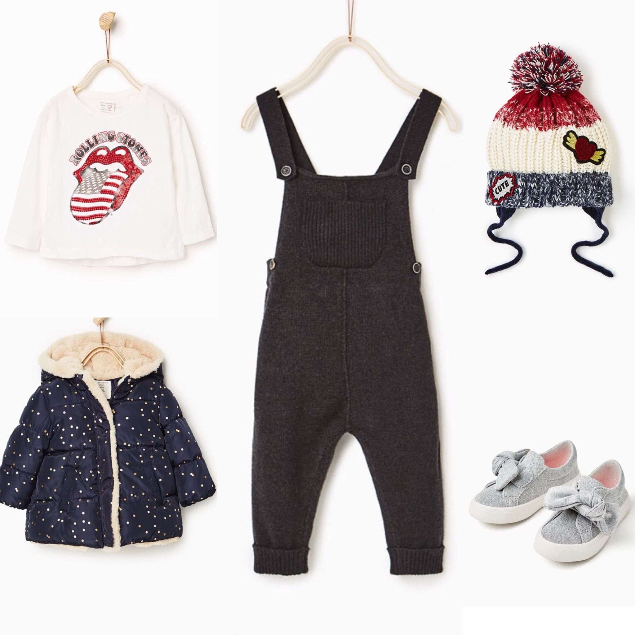 Baby girl outfit idea Zara 2016 winter collection Black dungarees