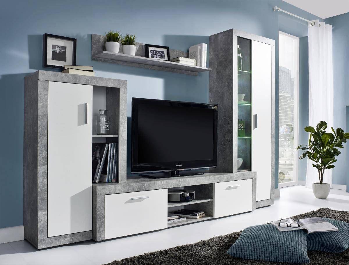Wohnwand Bono Beton Optik Weiss Online Bei Poco Kaufen Wohnwand Wohnen Wohnzimmerschranke