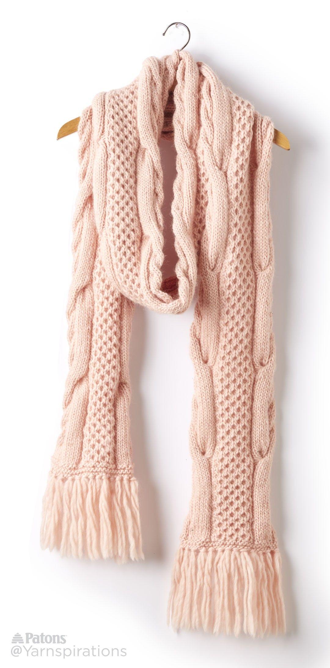 Honey Comb Twist Knit Super Scarf - Patterns | Yarnspirations ...