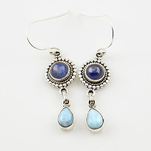 Genuine Kyanite & Larimar Solid Sterling Earrings. Starting at $1 on Tophatter.com!