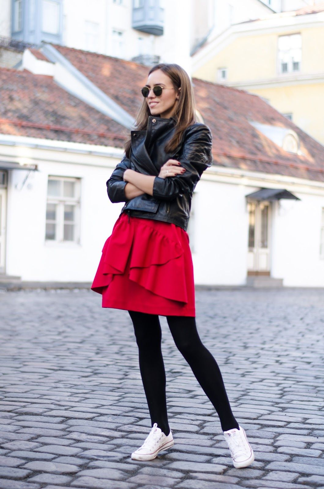 Red Dress Sneakers Leather Jacket Outfit Dress And Sneakers Outfit Red Dress Dress With Sneakers [ 1600 x 1059 Pixel ]