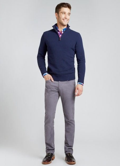 A slate grey trouser also works with more colorful summer shirts ...