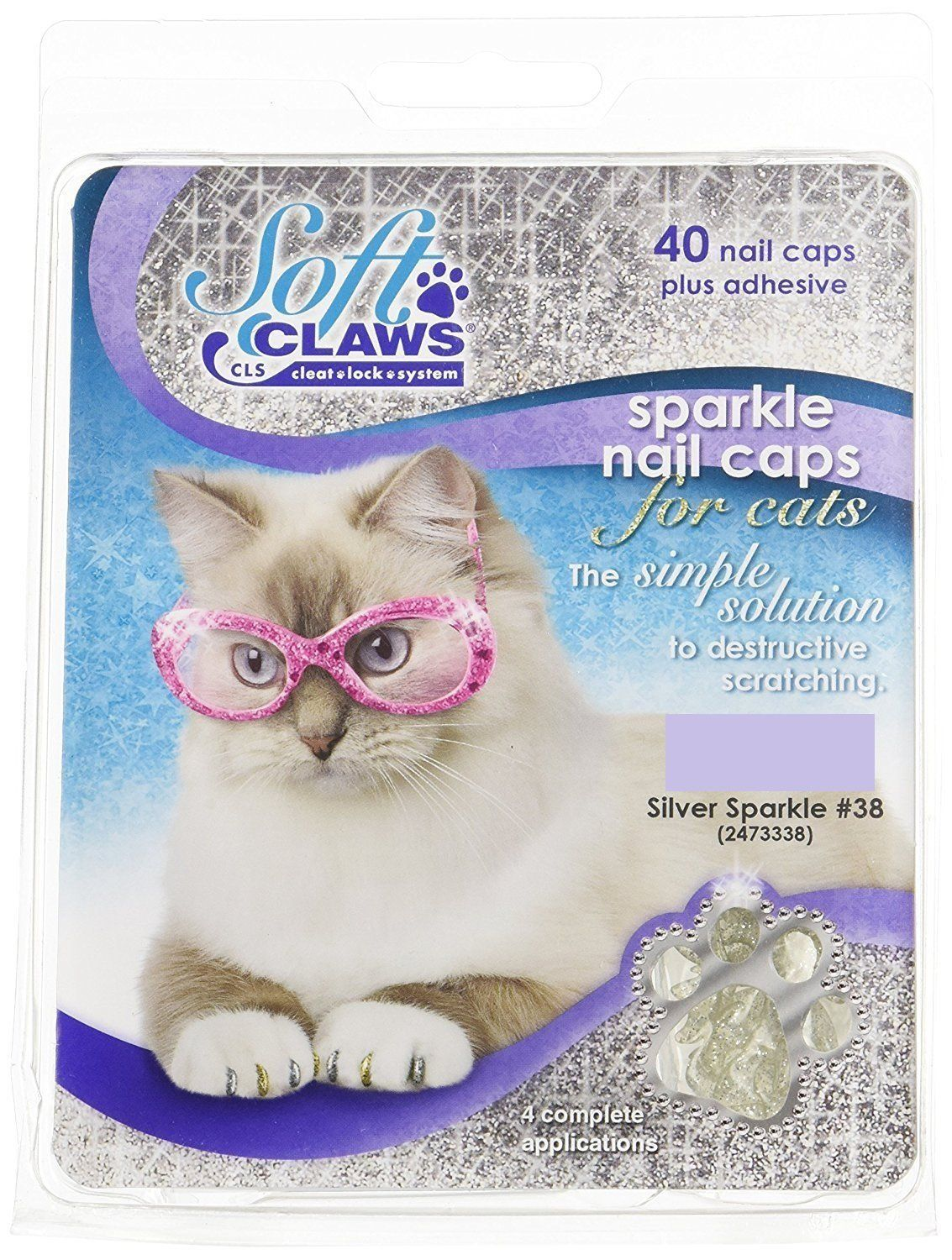 Soft Claws Feline Nail Caps, Small, Silver Sparkle *** We