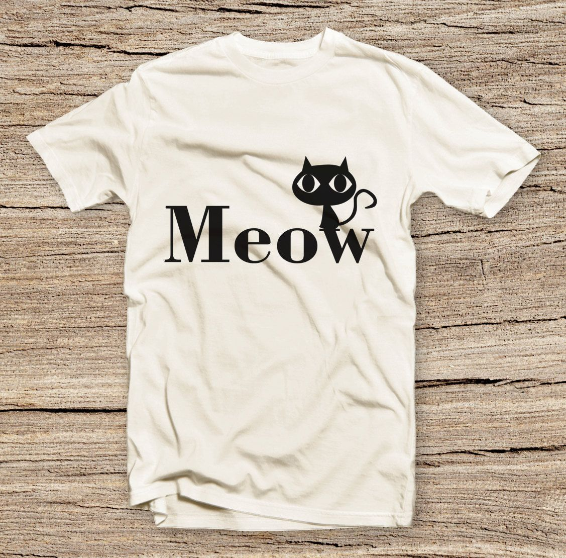 PTS 031 Meow T shirt Cute Cat T shirt Fashion Style Printed T
