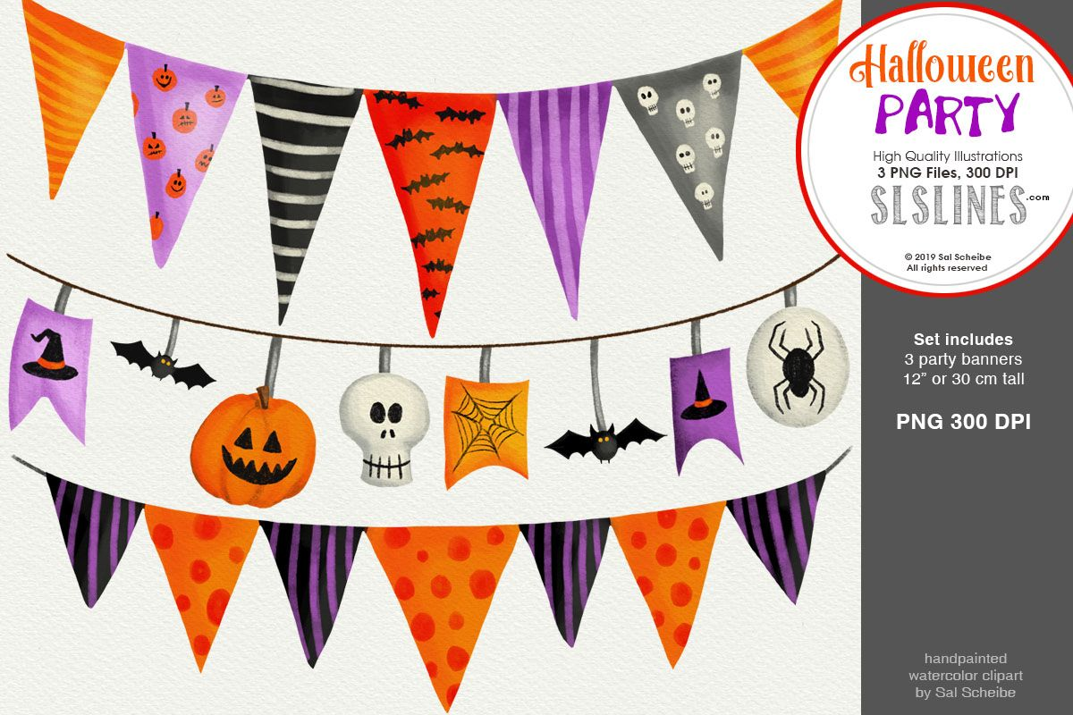 Halloween Party 3 Spooky Party Banners Graphic By Sls Lines Creative Fabrica Halloween Banner Halloween Party Banner Halloween Party