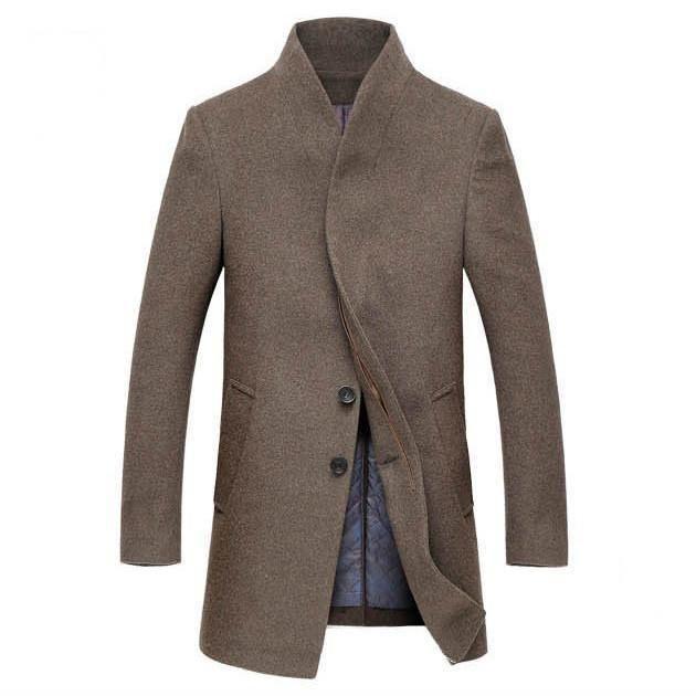 Fashion Outerwear Windbreaker Slim Fit Business Long Jacket Casual Overcoat