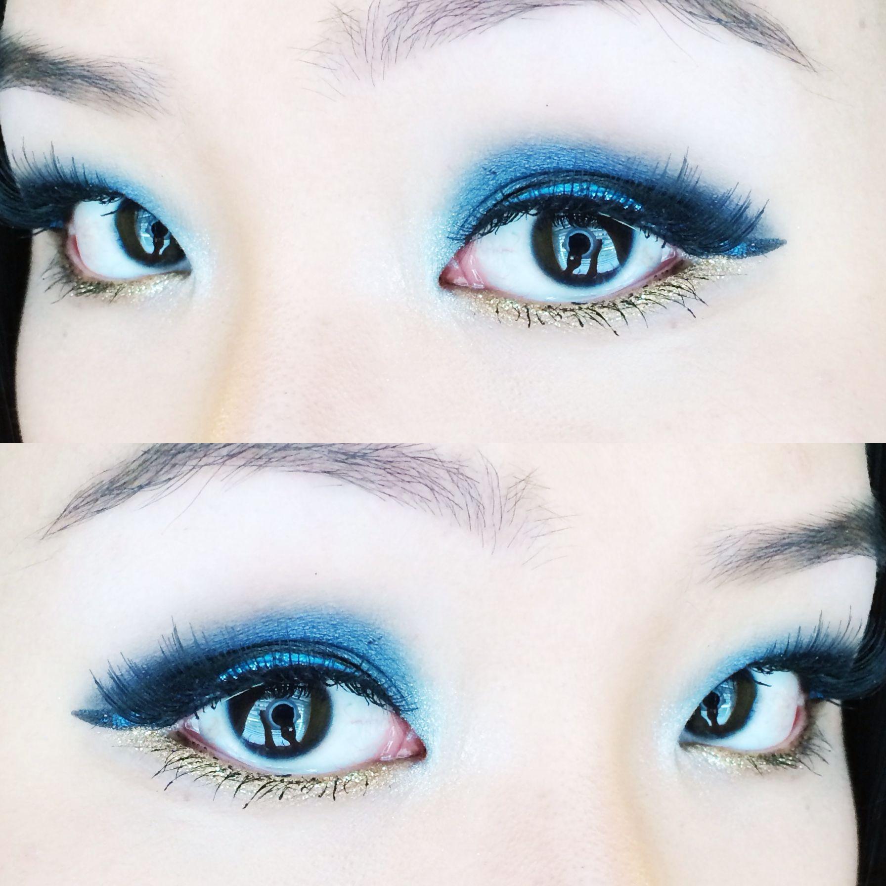 Royal Blue and Gold Eye Makeup
