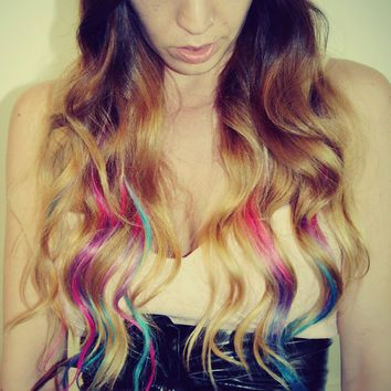 Pastel Dip Dyed Hair, Clip In Hair Extensions, Tie Dye Tips ...