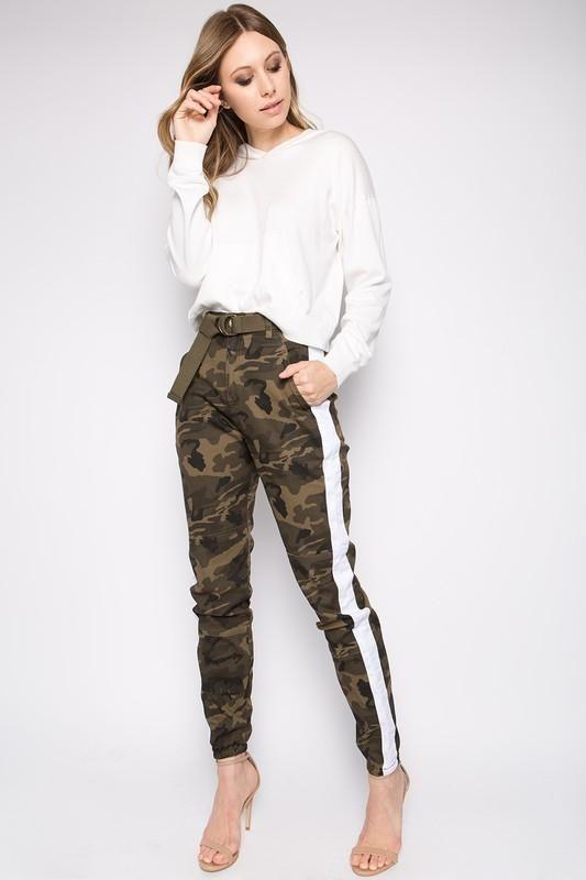 5f2cdff4a25 White Side Striped Cam Pants