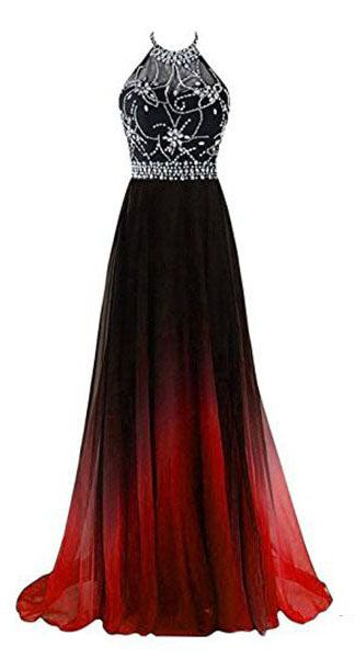 Photo of A-line Halter Gradient Chiffon Long Prom Dress Ombre Beads E…