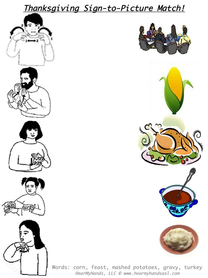 photo about Asl Animal Signs Printable identified as Thanksgiving Indication Language Video game (which may perhaps be reduce aside