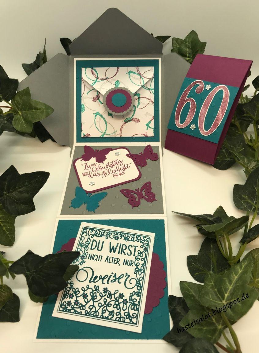 Mini-Leporello im Umschlag zum Geburtstag mit den Farben \