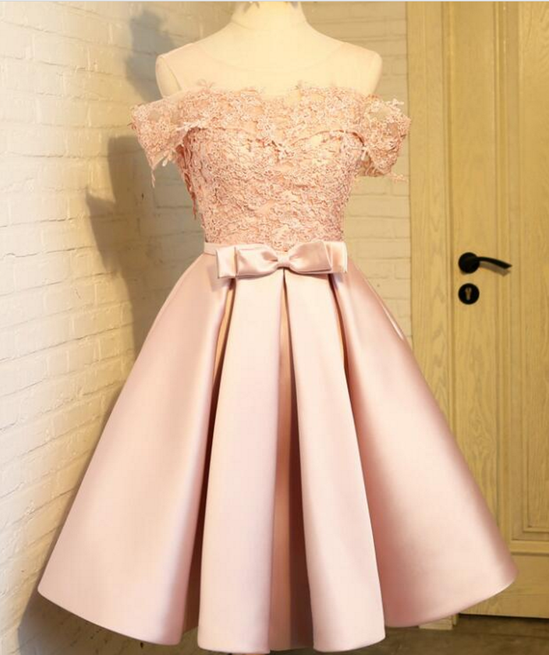 b09f9be359e Lovely Light Pink Off Shoulder Satin and Lace Short Homecoming Dress   HomecomingDresses  Short PromDresses  Short CocktailDresses   HomecomingDresses